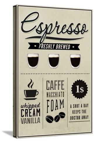 Espresso Freshly Brewed (cream)-Lantern Press-Stretched Canvas Print