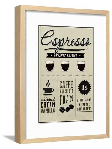 Espresso Freshly Brewed (cream)-Lantern Press-Framed Art Print