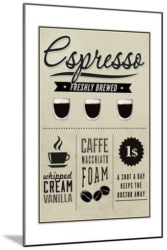 Espresso Freshly Brewed (cream)-Lantern Press-Mounted Art Print