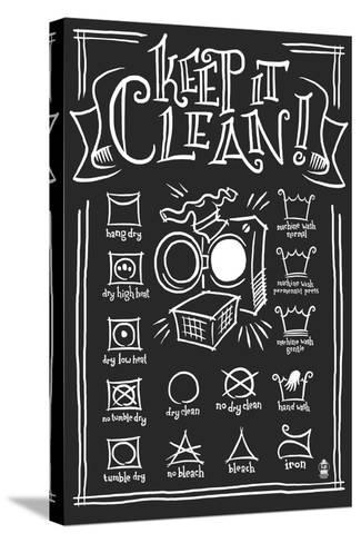 Laundry Symbols (Black)-Lantern Press-Stretched Canvas Print