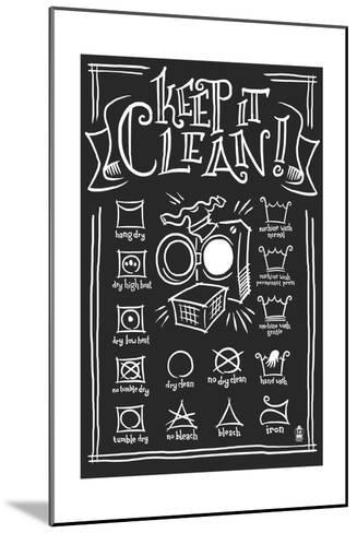 Laundry Symbols (Black)-Lantern Press-Mounted Art Print