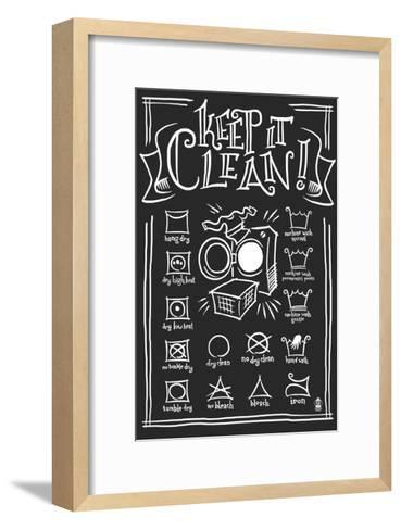 Laundry Symbols (Black)-Lantern Press-Framed Art Print