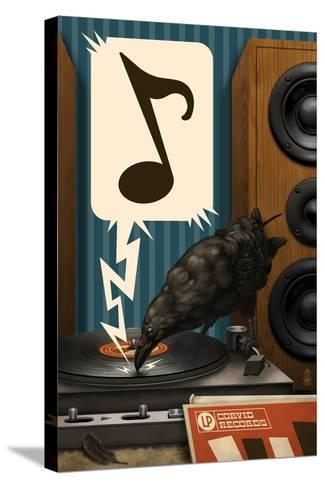 Raven and Record Player-Lantern Press-Stretched Canvas Print