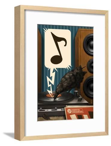 Raven and Record Player-Lantern Press-Framed Art Print