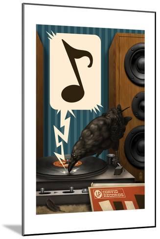 Raven and Record Player-Lantern Press-Mounted Art Print
