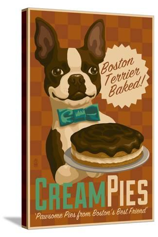 Boston Terrier - Retro Cream Pie Ad-Lantern Press-Stretched Canvas Print