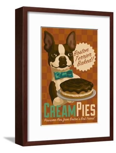 Boston Terrier - Retro Cream Pie Ad-Lantern Press-Framed Art Print
