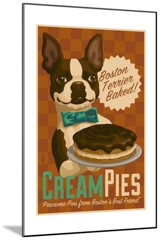 Boston Terrier - Retro Cream Pie Ad-Lantern Press-Mounted Art Print