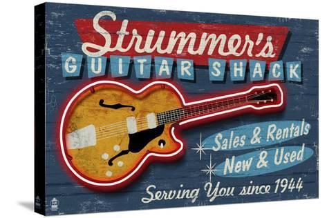 Guitar Shop - Vintage Sign-Lantern Press-Stretched Canvas Print