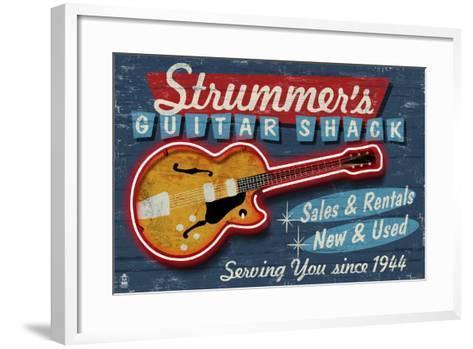 Guitar Shop - Vintage Sign-Lantern Press-Framed Art Print