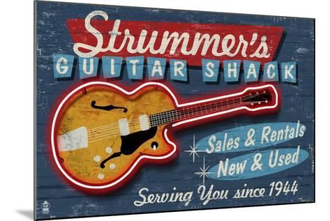 Guitar Shop - Vintage Sign-Lantern Press-Mounted Art Print