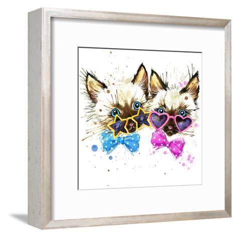 Kittens Twins T-Shirt Graphics. Kittens Twins Illustration with Splash Watercolor Textured Backgro-Dabrynina Alena-Framed Art Print
