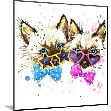 Kittens Twins T-Shirt Graphics. Kittens Twins Illustration with Splash Watercolor Textured Backgro-Dabrynina Alena-Mounted Art Print