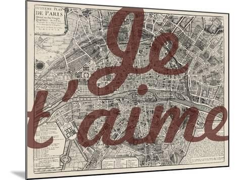 Je Taime - Paris, France, Vintage Map--Mounted Giclee Print