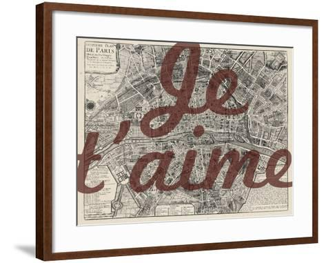 Je Taime - Paris, France, Vintage Map--Framed Art Print