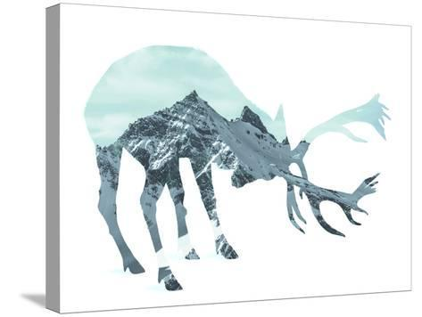 Mountain - Deer - Silhouette--Stretched Canvas Print