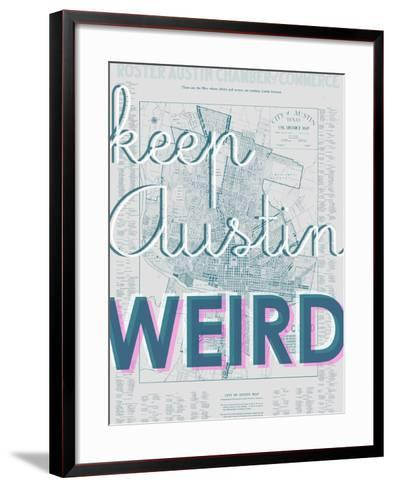 Keep Austin Weird - 1939, Austin Chamber of Commerce, Texas, United States Map--Framed Art Print