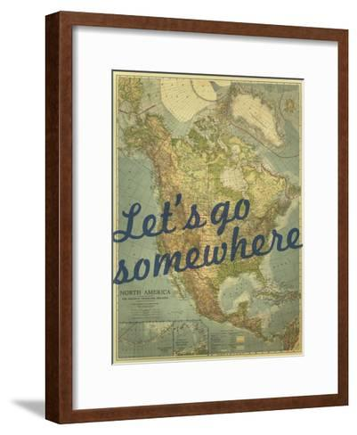 Let's go Somewhere - 1924 North America Map-National Geographic Maps-Framed Art Print