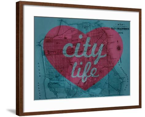 City Life - 1876, San Francisco 1876, California, United States Map--Framed Art Print