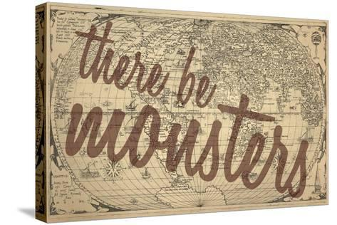 There Be Monsters - 1562, World Map--Stretched Canvas Print
