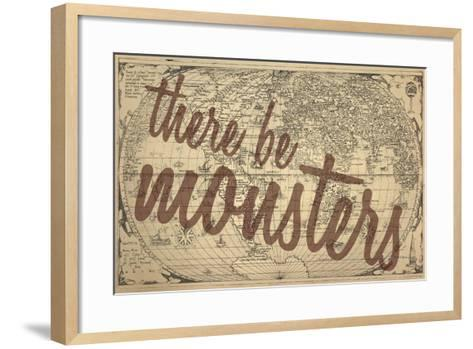 There Be Monsters - 1562, World Map--Framed Art Print