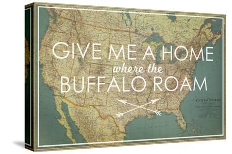 Give me a Home where the Buffalo Roam - 1933 United States of America Map-National Geographic Maps-Stretched Canvas Print