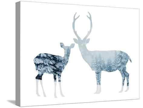 Deer in a Snowy Forest--Stretched Canvas Print
