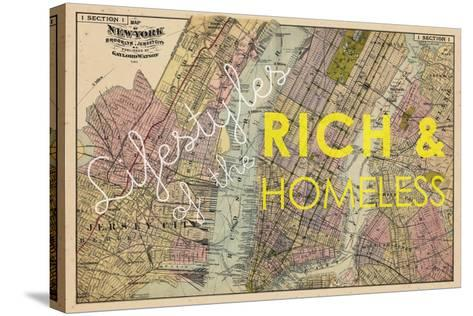 Lifestyles of the Rich & Homeless - 1891, New York, Brooklyn, & Jersey City Map--Stretched Canvas Print