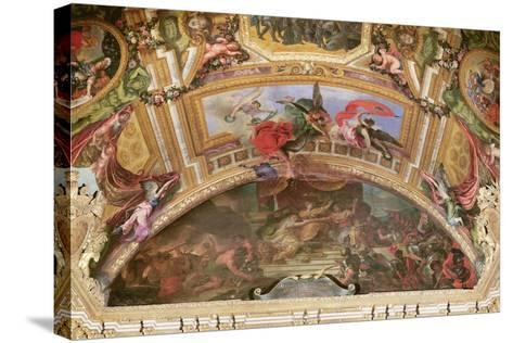 The Alliance of Germany and Spain with Holland, 1672, Ceiling Painting from the Galerie Des Glaces-Charles Le Brun-Stretched Canvas Print