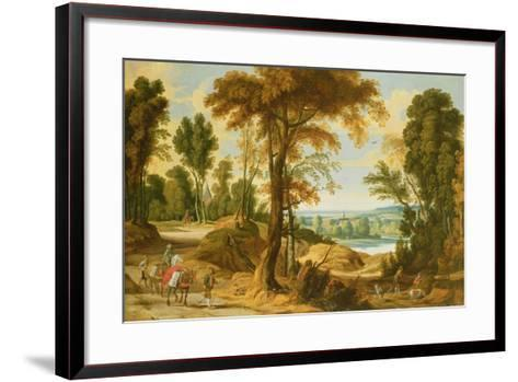 A Wooded River Landscape with Figures on a Road-Jan Wildens-Framed Art Print