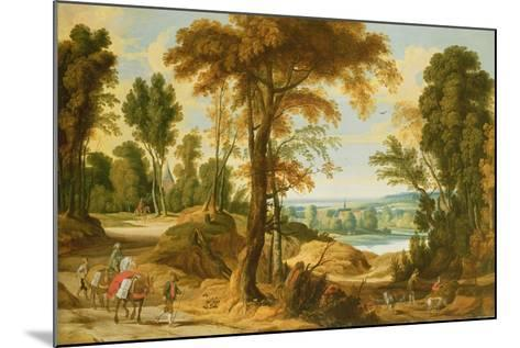 A Wooded River Landscape with Figures on a Road-Jan Wildens-Mounted Giclee Print