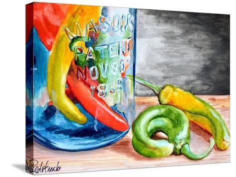 Chili Peppers-Jennifer Redstreake Geary-Stretched Canvas Print