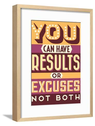 Results Not Excuses-Vintage Vector Studio-Framed Art Print