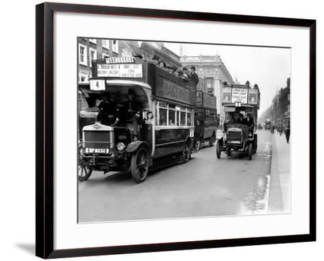 Buses Driven by Volunteers Seen Here in Oxford Street During the 10th Day of the General Strike-Staff-Framed Art Print