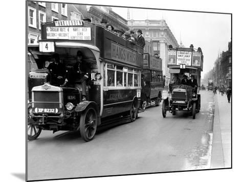 Buses Driven by Volunteers Seen Here in Oxford Street During the 10th Day of the General Strike-Staff-Mounted Photographic Print