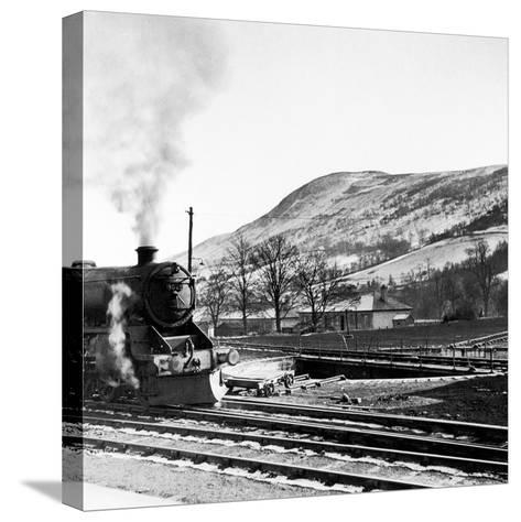 Steam Train Leaving Blair Atholl, 1947-Staff-Stretched Canvas Print