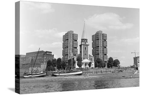 View across the Thames at Battersea. 21st August 1971-Staff-Stretched Canvas Print