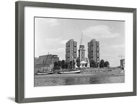 View across the Thames at Battersea. 21st August 1971-Staff-Framed Art Print