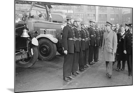 King George VI inspects firemen on his visit to Birmingham during WW2-Staff-Mounted Photographic Print