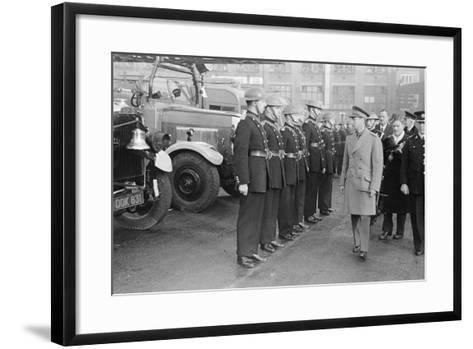 King George VI inspects firemen on his visit to Birmingham during WW2-Staff-Framed Art Print