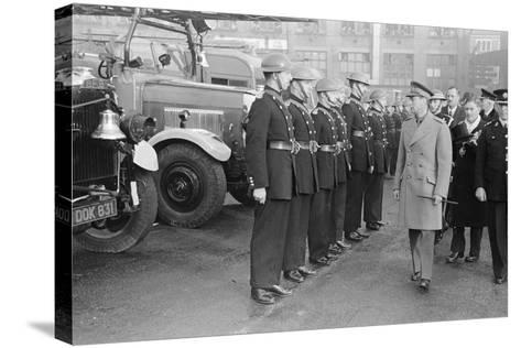 King George VI inspects firemen on his visit to Birmingham during WW2-Staff-Stretched Canvas Print