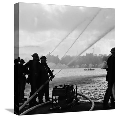 Auxiliary Fire Service exercise in Hyde Park, 1957-Ted Heanley M.B.E. D.F.C.-Stretched Canvas Print