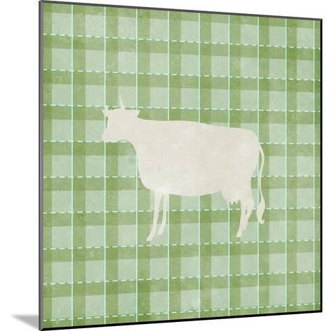 Farm Cow on Plaid-Elizabeth Medley-Mounted Art Print