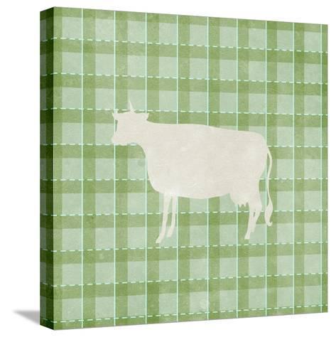 Farm Cow on Plaid-Elizabeth Medley-Stretched Canvas Print