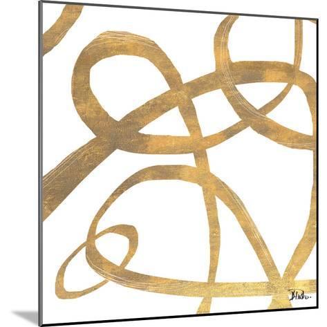 Golden Swirls Square II-Patricia Pinto-Mounted Premium Giclee Print