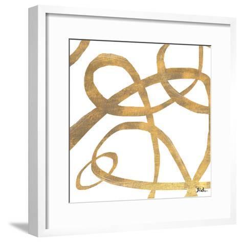 Golden Swirls Square II-Patricia Pinto-Framed Art Print