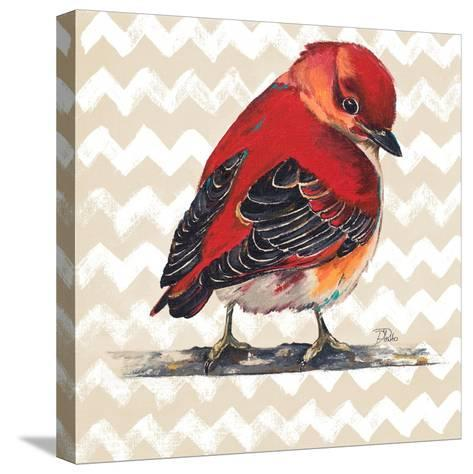 Chevron Baby Red Bird I-Patricia Pinto-Stretched Canvas Print