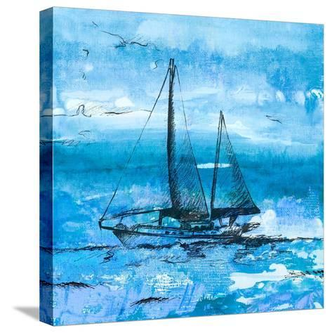 Coastal Boats in Watercolor II-Lanie Loreth-Stretched Canvas Print