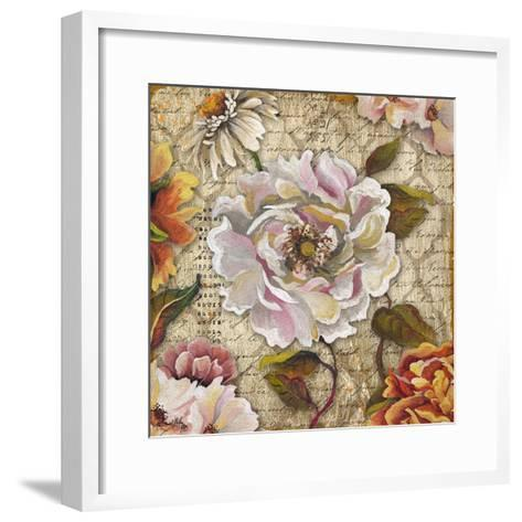 White Floral Inscription II-Elizabeth Medley-Framed Art Print