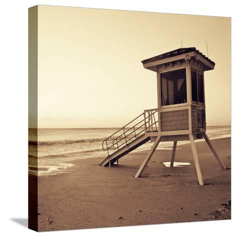 Sepia Life Guard Tower I-Jairo Rodriguez-Stretched Canvas Print